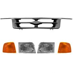 95-97 Ford Ranger Chrome/Argent Grille, Headlight, Parking Light Set