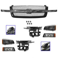 03-04 Chevy Avalanche 1500, Silverado Grille, Parking Light, Headlight & Mounting Panel Kit