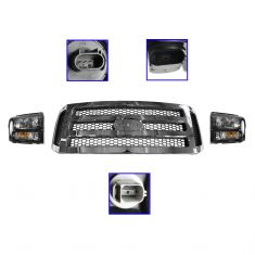 2005-07 Ford Super Duty Harley Headlight Pair w/ Chrome & Gray Grille Kit