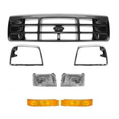 92-97 Ford PU Bronco Chrome Headlight, Corner Light, Bezel, and Grille SET