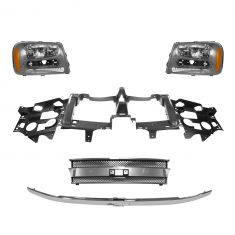 02-09 Trailblazer (exc SS); 02-06 EXT (w/o Headlamp Washer) Grille, Header Panel, & Headlight Kit
