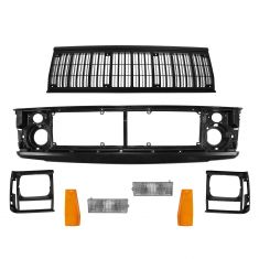 91-96 Jeep Cherokee Header Panel, Grille, Bezel, Corner Light, Marker Light Set