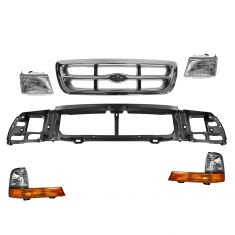 98-00 Ford Ranger 2WD (exc EV & Splash) Grille, Header Panel, Headlight, & Corner Light Kit