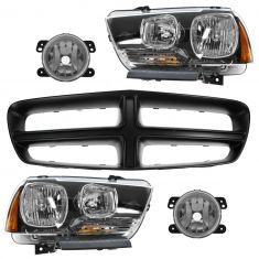 11-14 Dodge Charger (ex RT) PTM Grille, Headlight, & Fog Light Kit