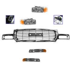 99-02 Sierra 1500/2500; 00-06 Yukon/XL Chrome & Black Grille, Headlight, Parking Light Kit