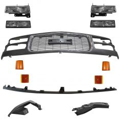 94-02 GMC C/K PU Truck, SUV Grille, Headlight, Corner, Park Light & Fillers Kit