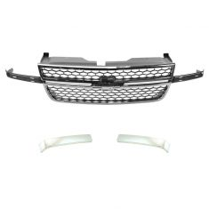 06-07 Silverado 1500 (exc SS); 05-07 2500, 3500 Classic Chrome & Gray Honeycomb Grille/Insert 3 Pce