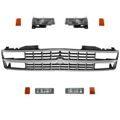90-93 Chevy Truck SUV Black Chrome Grille & Lighting Kit (9 Piece)