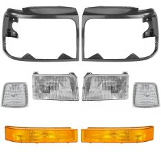 92-97 Ford Pickup Bronco Front Lighting & Black Bezel Kit (8 Piece)