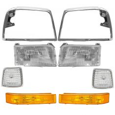 92-97 Ford Pickup Bronco Front Lighting & Chrome Bezel Kit (8 Piece)