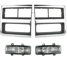 89-91 Chevy Truck SUV Front Grille & Light Kit (4 Piece)