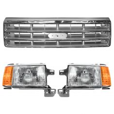 1987-91 Ford Truck Front Grille & Headlight Kit (3 Piece)