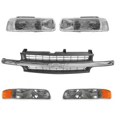 99-02 Chevy Silverado; 00-06 Suburban Tahoe Front Grille & Light Kit (5 Piece)