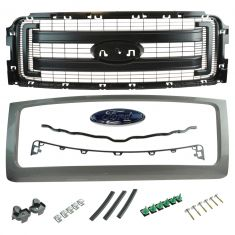 09-14 Ford F150 (FX2, FX4, STX Type) (exc Raptor) PTM Surr w/2 Textured Bars Grille w/Emblem (Ford)