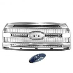 15-16 Ford F150 Platinum (w/o Front Camera) 3 Bar Satin Mesh Grille w/ Emblem (Ford)