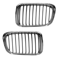 99-01 BMW 3 Series Sdn & SW Hood Mounted Chrome Grille PAIR
