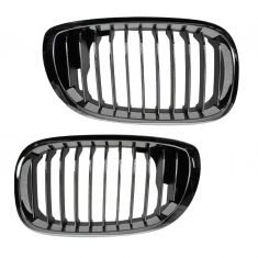04-06 BMW 325Ci; 330Ci Chrome & Black Upper Grille PAIR