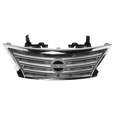 13-15 Nissan Sentra (exc. SR) Front Upper Chrome and Silver Grille