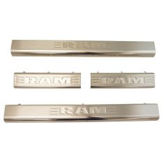 11-16 Ram 1500-3500 Quad or Crew Cab ~RAM~ Logoed Stainless Stl Dr Sill Guard Kit (Set of 4) (Mopar)