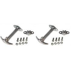 1942-86 Jeep CJ Series; 1987-95 Wrangler Chrome Hood Latch & Catch Bracket PAIR