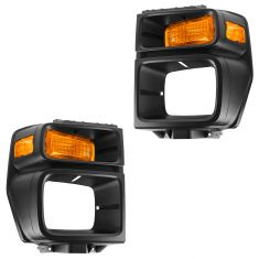 08-11 Ford Van Headlight Bezel w/Parking Turn Signal Light PAIR