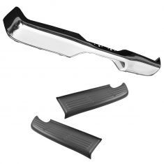00-02 Toyota Tundra; 03-06 Tundra (exc Step Side) Chrome Rear Bumper Face Bar w/Upper Step Pad PAIR