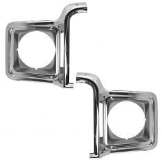 73-78 Chevy, GMC FS Truck, SUV Chrome and Silver Headlight Trim PAIR