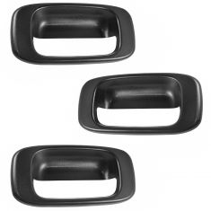99-07 Chevy Silverado, GMC Sierra Black Textured Tailgate Handle Bezel (SET of 3)