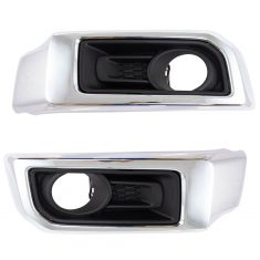 14-18 Toyota 4Runner Limited Primed Fog Light Bezel w/Chrome Trim PAIR