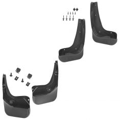 12-16 Ford Focus, Focus Hybrid Molded Black Plastic Frnt & Rear Splsh Grd Md Flp Set of 4(Frd)q