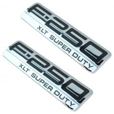 05-07 Ford F250SD Fender Mtd Chrome & Black ~F-250 XLT SUPER DUTY~ Logoed Adh Nameplate PAIR (FD)