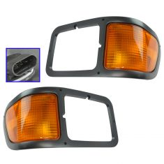 00-03 Ford F650, F750 Medium Platinum Headlight Bezel w/Corner Parking Light PAIR (Ford)