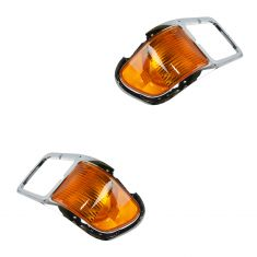 00-14 Ford F650, F750 Chrome Headlight Bezel w/Corner Parking Light PAIR (Ford)