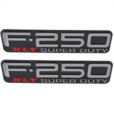 99-04 Ford F250SD ~F-250 XLT SUPER DUTY~ Logoed Front Fender Mounted Nameplate Emblem PAIR (FORD)