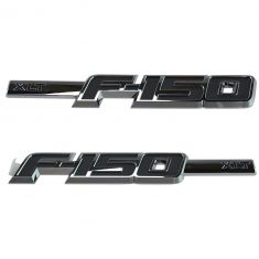09-14 Ford F150 Chrome & Black Front Fender Mtd ~XLT F-150~ Logoed Nameplate Emblem PAIR (Ford)