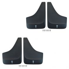 82-09 Pontiac Multifit Front/Rear Blk w/Wht Arrowhead Logd Contoured Mud Flap Guard (Set of 4) (GM)