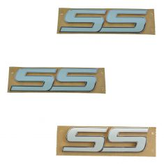 06-09 Trailblazer, Impala; 08-10 HHR; 06-07 Monte Carlo White ~SS~ Nameplate (Set of 3) (GM)
