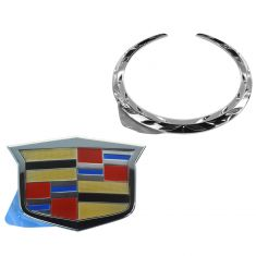 08-15 Cadillac CTS; 09-15 CTS-V Grille Chrome Cadillac Crest & Wreath Emblem Kit (GM)