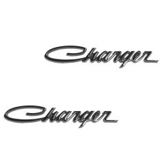 66-74 Dodge Charger Chrome ~Charger~ Pin Type Retro Nameplate Emblem PAIR (Mopar)