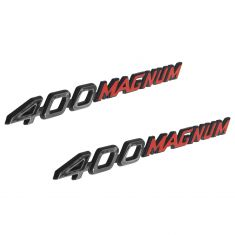 72-74 Dodge Charger Hood Mounted Red & White ~400 MAGNUM~ Clip On Nameplate Emblem PAIR (Mopar)