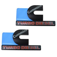 15-16 Ram 2500, 3500 Fdr Mtd Blk, Gray, Red ~Cummins TURBO DIESEL~ Logoed Adh Nameplate PAIR (MP)