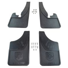 09-16 Ram 1500; 10-16 2500, 3500 w/Fdr Flares ~Ram~ Logoed HD Rubber Splash Guard Mud Flap SET (MP)