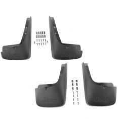 08-12 Jeep Liberty Mld Blk Plastic ~Jeep~ Logoed Front & Rear Deluxe Splash Guard Mud Flap Kit (MP)
