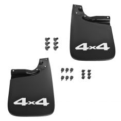 Tacoma 4WD Molded Black Plastic ~4x4~ Logoed Rear Mud Flap Splash Guard Pair w/Hardare (Toyota)