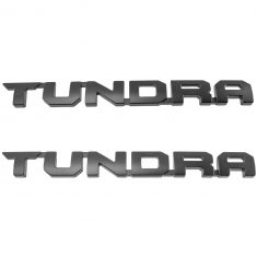 10-16 Toyota Tundra TRD-PRO Front Door Mounted Black ~TUNDRA~ Logoed Namplate Emblem Pair(Toyota)