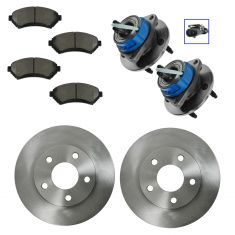 97-05 GM FWD Multifit Front Wheel Hub Assembly; Ceramic Pads & Rotors Set