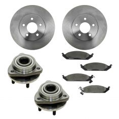 95-00 Cirrus, Stratus; 96-00 Sebring, Breeze Front Hubs, Ceramic Brake Pads, Brake Rotors Kit