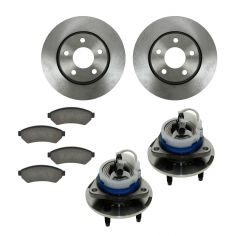 05-08 Buick, Chevy, Pontiac, Saturn Front Hubs, Ceramic Brake Pads, Brake Rotors Kit