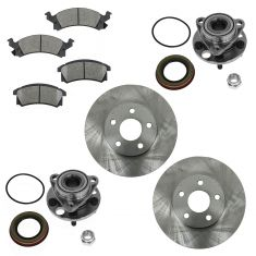 Buick, Chevy, Olds, Pontiac Multifit Front Hubs, Ceramic Brake Pads, Brake Rotors Kit