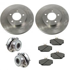 96-00 Taurus, Sable Front Hubs, Ceramic Brake Pads, Brake Rotors Kit